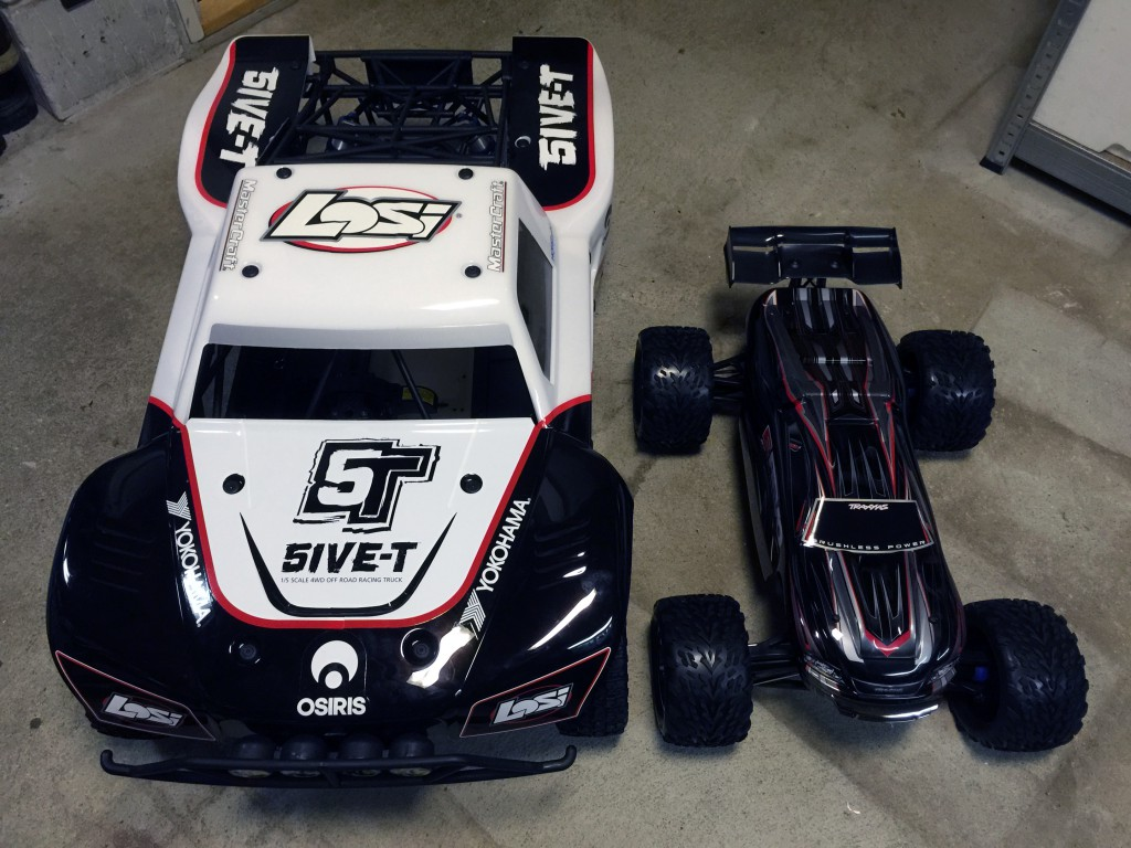 The Traxxas E-Revo and Losi 5ive-T compared